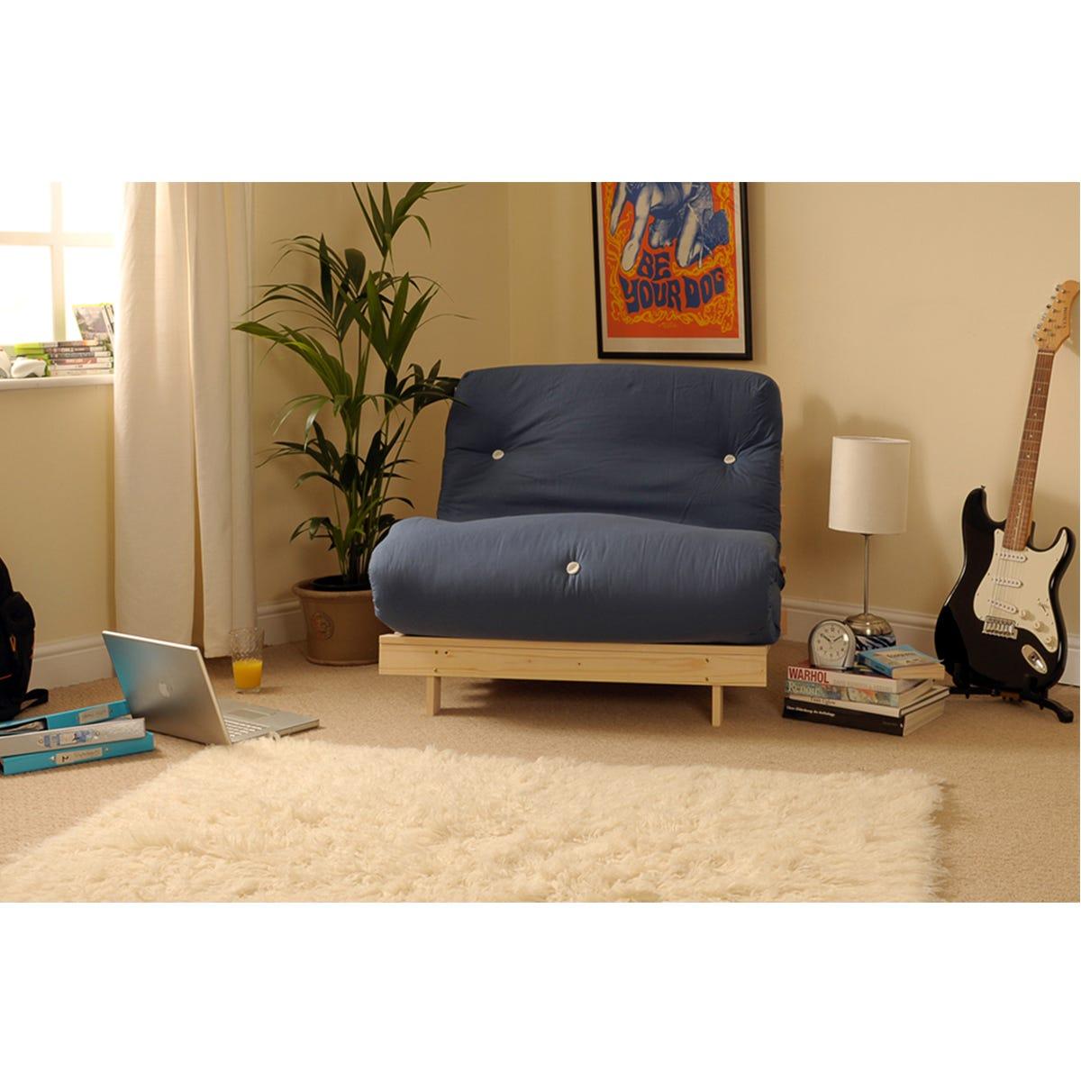 Albury Single Sofa Bed Set With Tufted Mattress - Navy