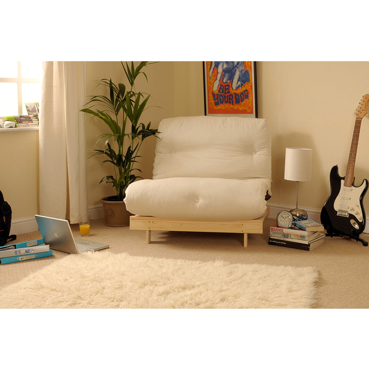 Albury Small Single Sofa Bed Set With Tufted Mattress - Natural