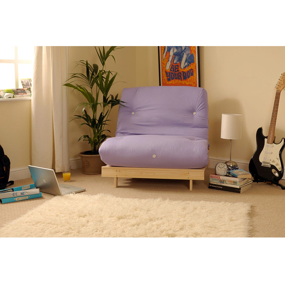 Albury Small Single Sofa Bed Set With Tufted Mattress - Lilac
