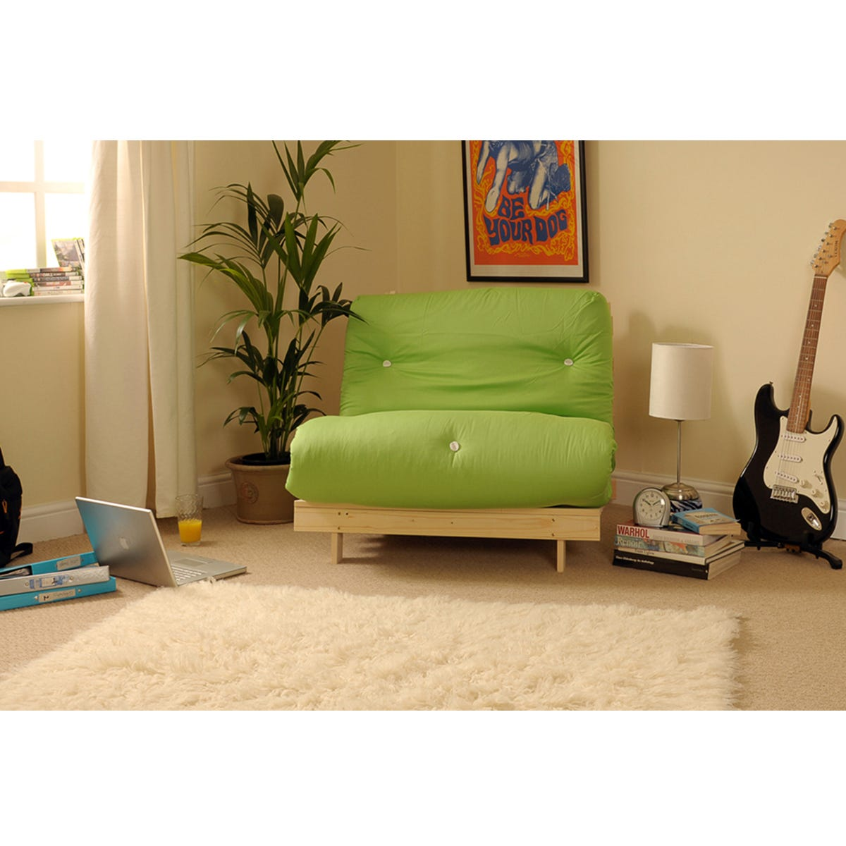 Albury Lime Sofa Bed Set With Tufted Mattress - Small Single
