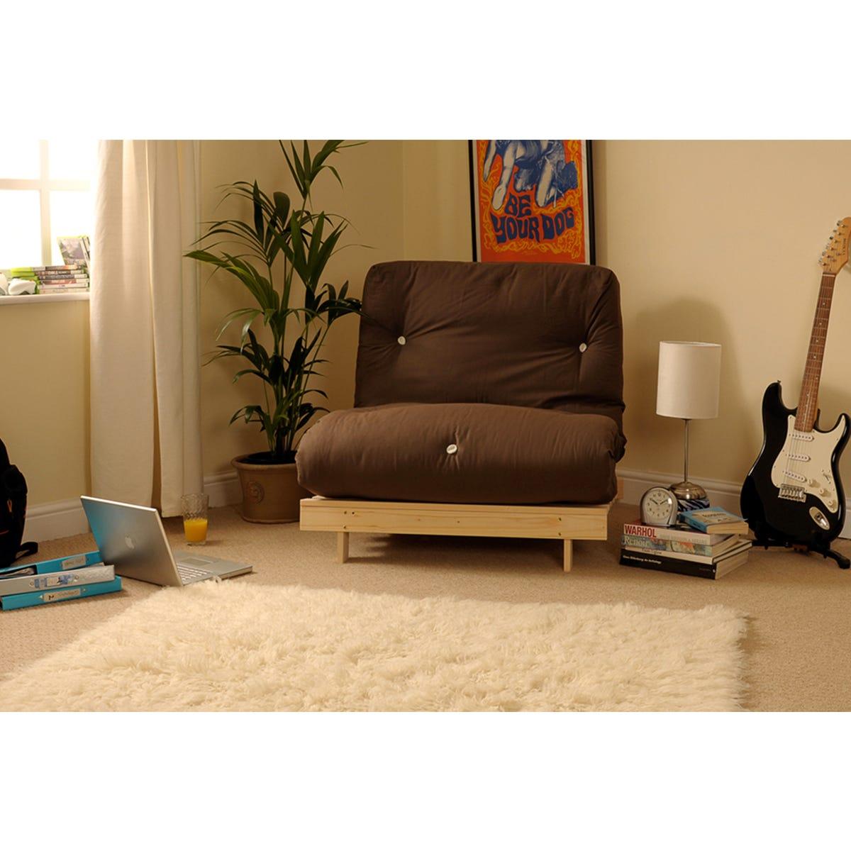 SleepOn Albury Small Double Sofa Bed Set With Tufted Mattress - Cream-Chocolate