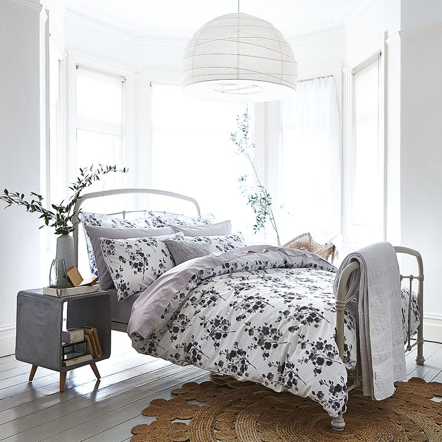 Compare prices for Bianca Cotton Soft Bianca Cotton Sprig Print Grey Bed Set - Single