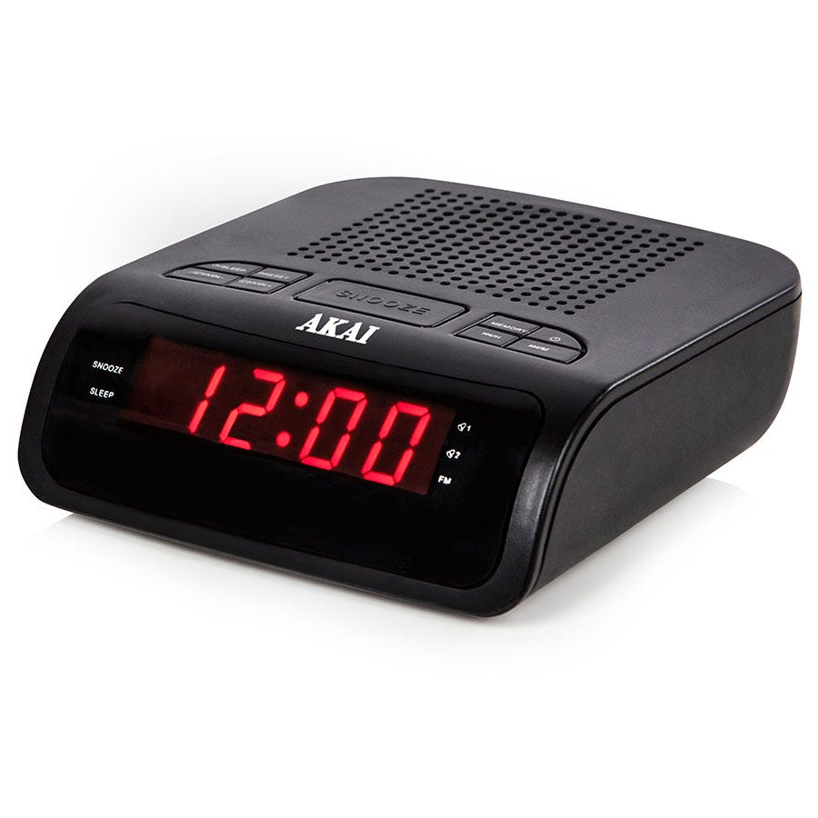 akai pll am fm alarm clock radio black octer. Black Bedroom Furniture Sets. Home Design Ideas