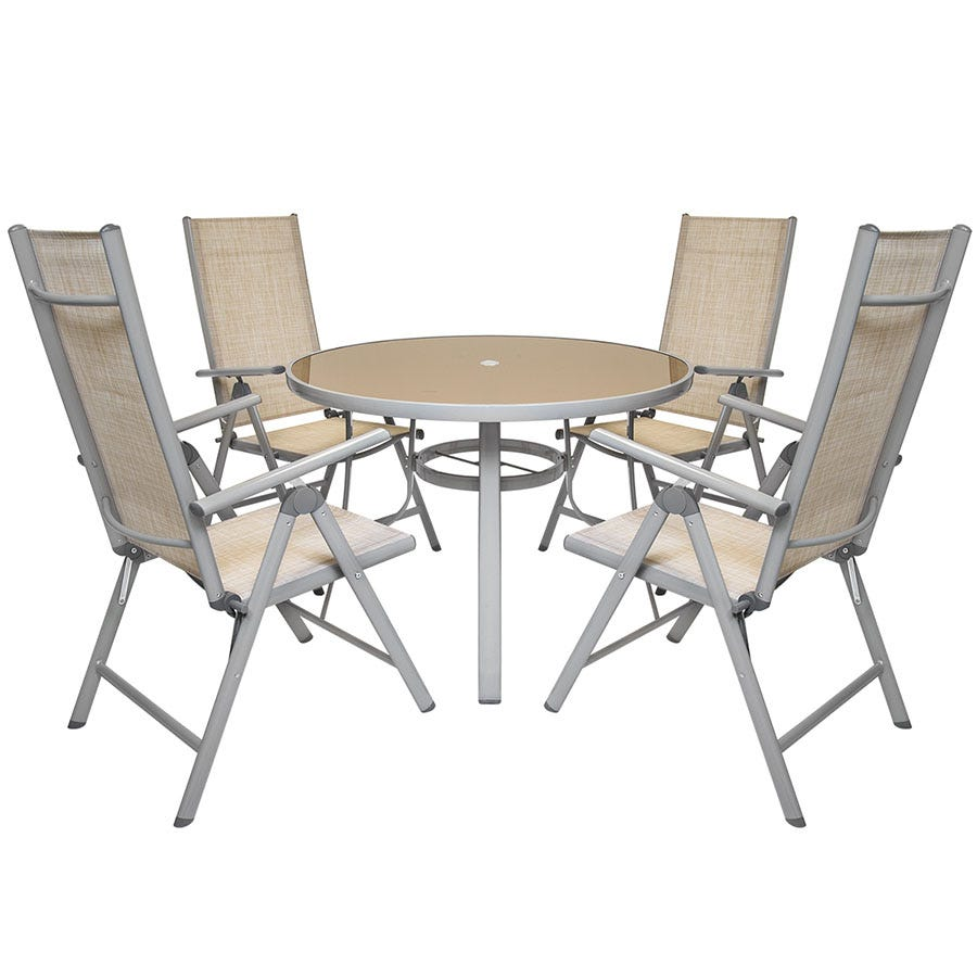 Compare cheap offers & prices of Charles Bentley 4-Seater Round Mesh Garden Furniture Set - Champagne manufactured by Charles Bentley