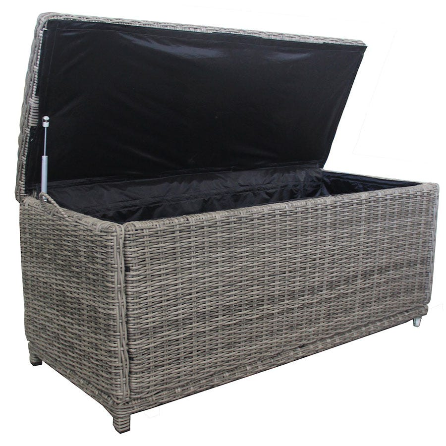 Charles Bentley Milano Rattan Garden Storage Box - Grey