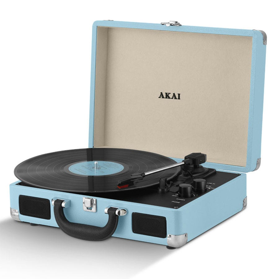 Compare retail prices of Akai A60011NB Bluetooth Rechargeable Turntable in Case - Blue to get the best deal online