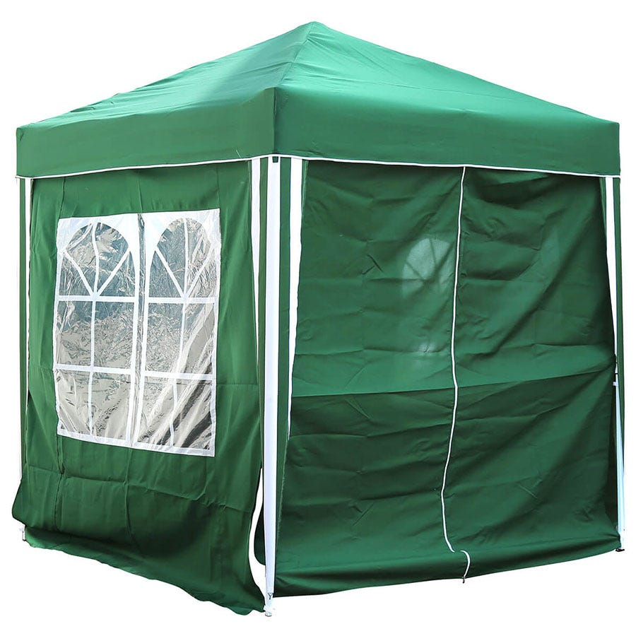 Charles Bentley 2 x 2m Pop-Up Gazebo with Side Walls - Green
