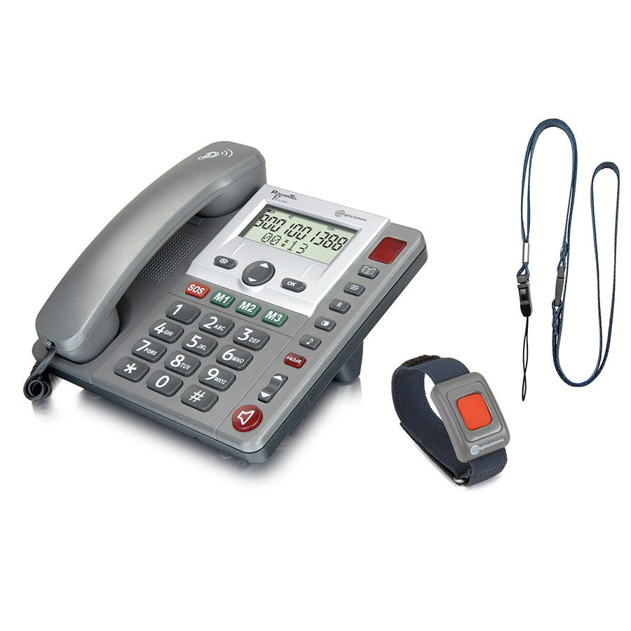 Compare prices for Amplicomms PowerTel 97 Alarm Big Button Corded Telephone with Wireless Remote SOS pendant