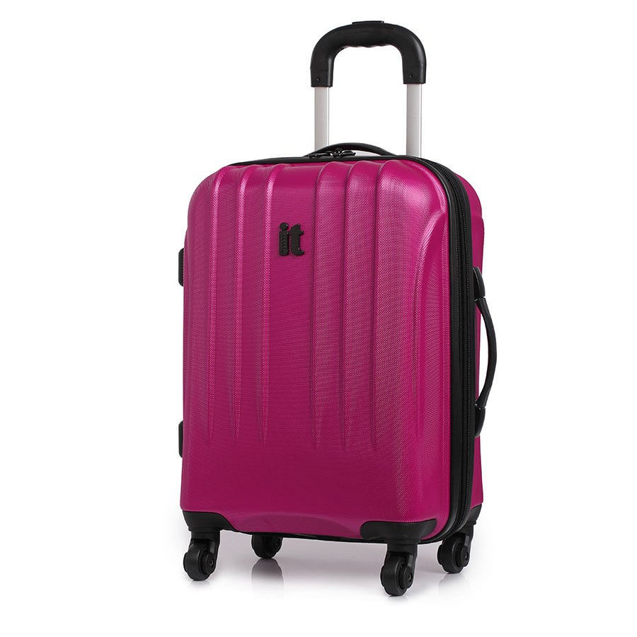 Compare prices for IT Luggage IT 4-Wheel Ultra-Strong Hard Shell Cabin Suitcase - Raspberry