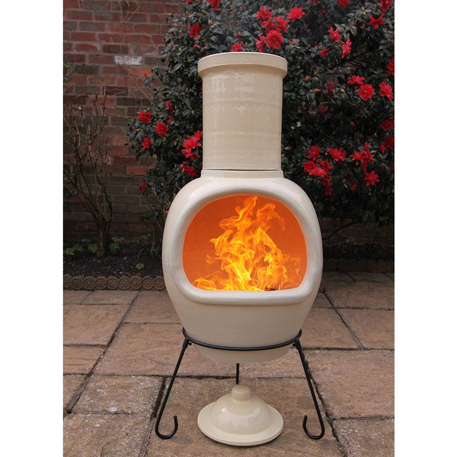 Compare prices for Gardeco Extra-Large Asteria AFC Chiminea - Glazed Ivory