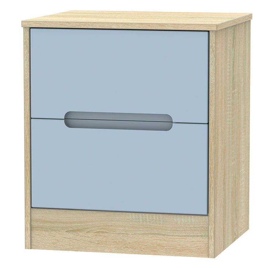 Image of Robert Dyas Barquero Ready Assembled 2-Drawer Bedside Table - Pine/Denim