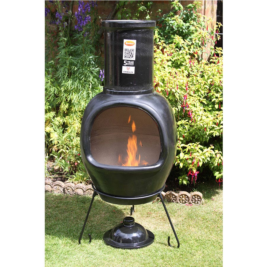 Compare prices for Gardeco Extra-Large Asteria AFC Chiminea - Glazed Black