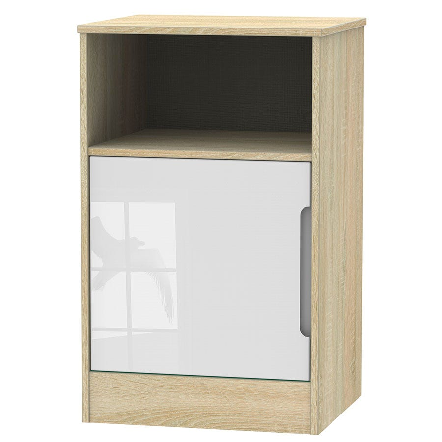 Image of Robert Dyas Barquero Ready Assembled 1-Door Bedside Table - Pine/White Gloss