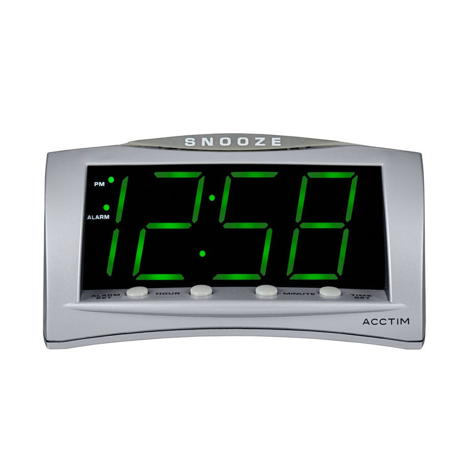 Acctim Astra Large Display Green LED USB Digital Alarm Clock