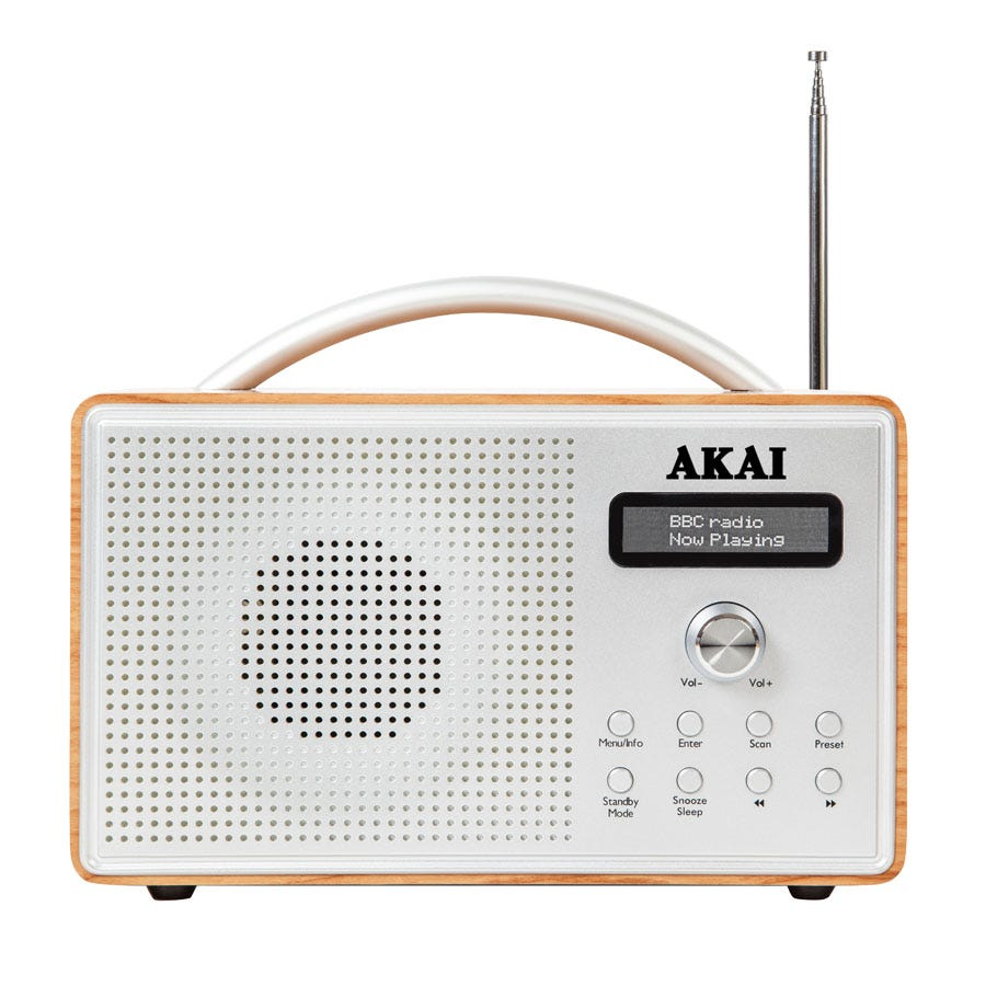Compare retail prices of Akai Portable Wooden DAB Radio with LCD Screen - Oak to get the best deal online