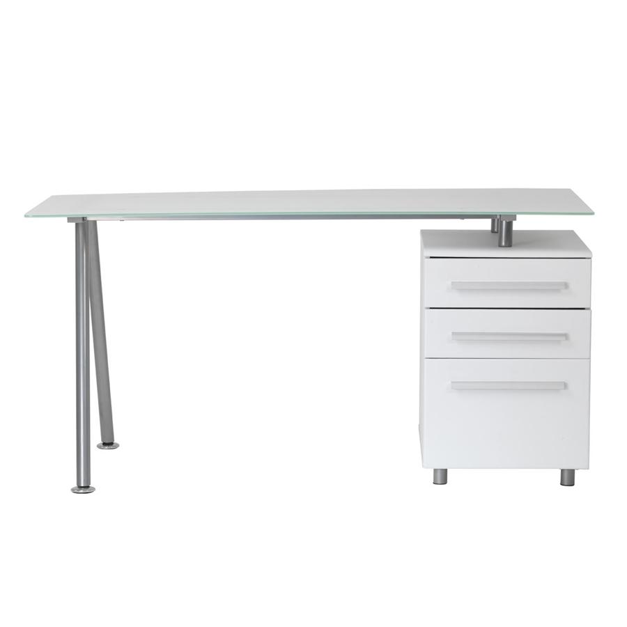 Alphason Cleveland Glass Office Desk - White