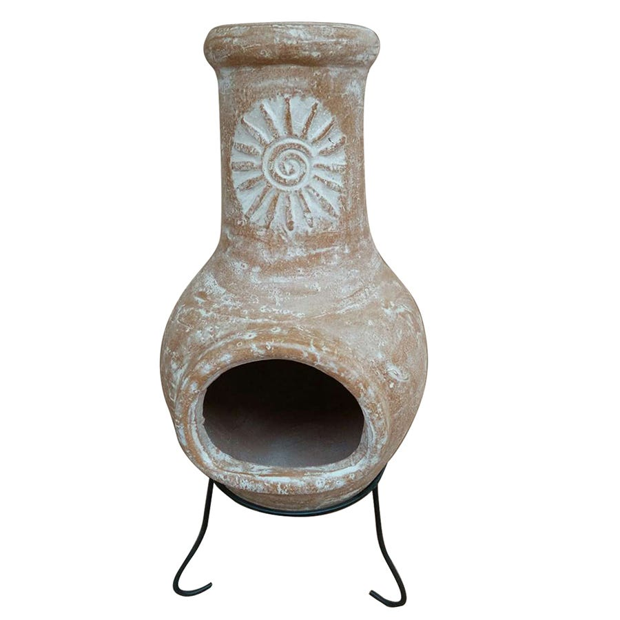 La hacienda banded table top clay chiminea in slate grey for Terracotta chiminea