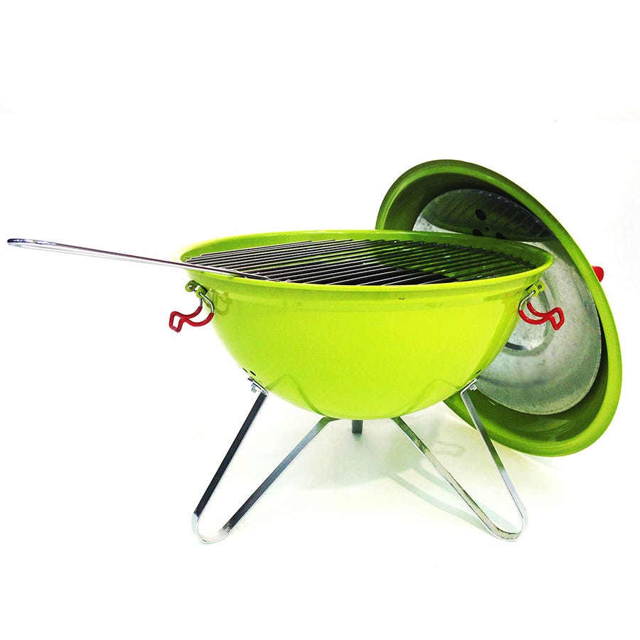 "Image of Charles Bentley 14"" Portable Kettle Charcoal BBQ With Grill - Green"