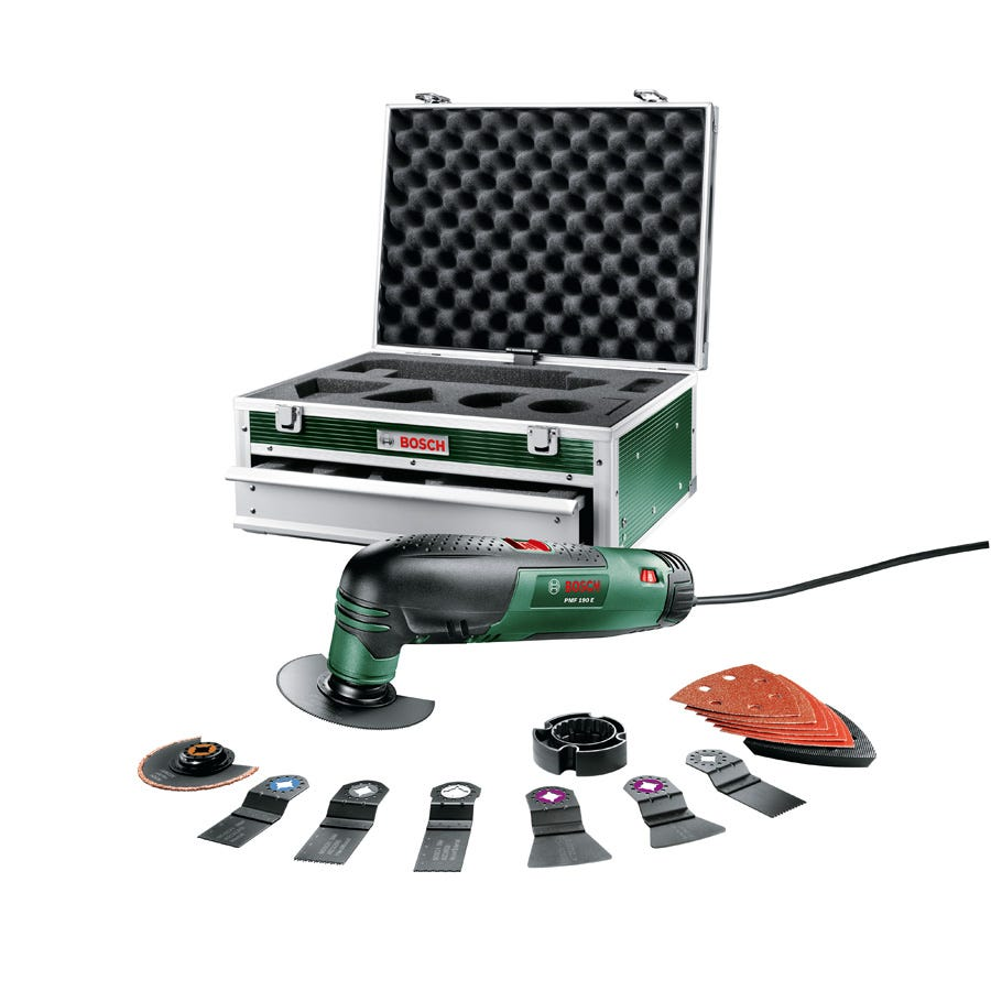bosch pmf 190e oscillating multi tool with 16 accessories and toolbox. Black Bedroom Furniture Sets. Home Design Ideas