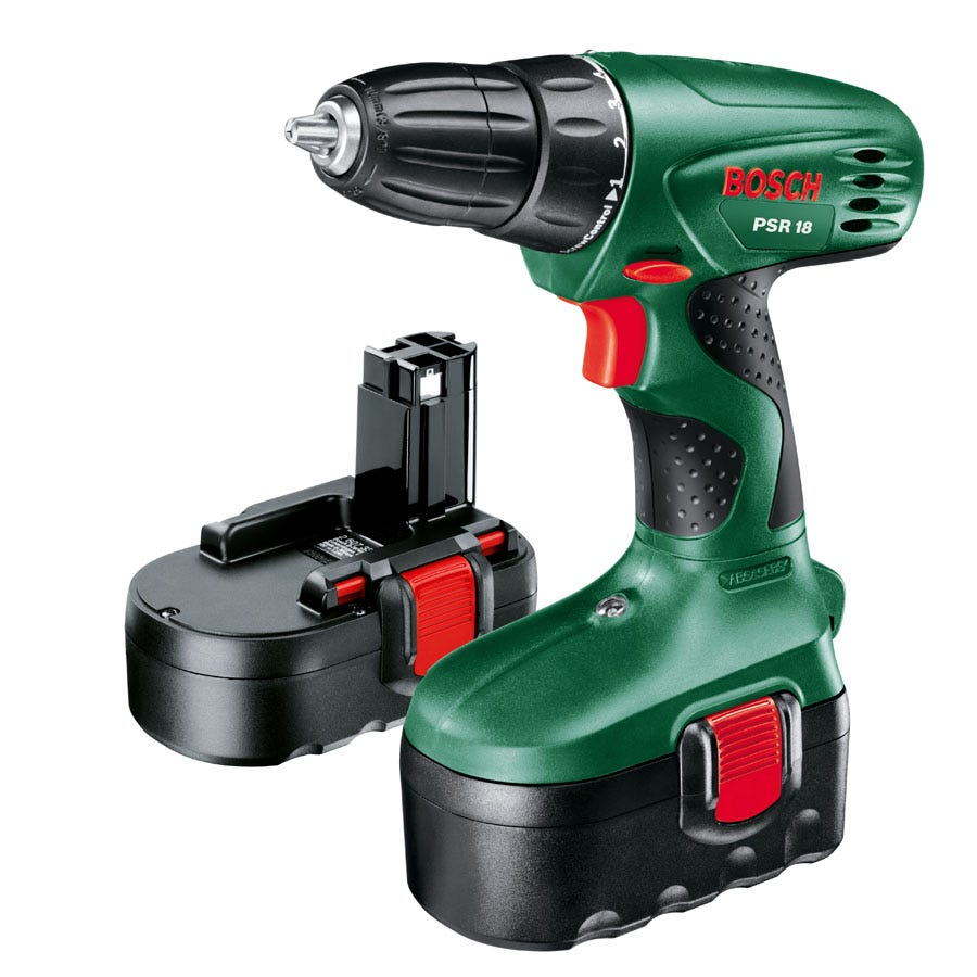 Bosch PSR 18V Cordless Drill with Spare Battery and 25-Piece Accessory Set