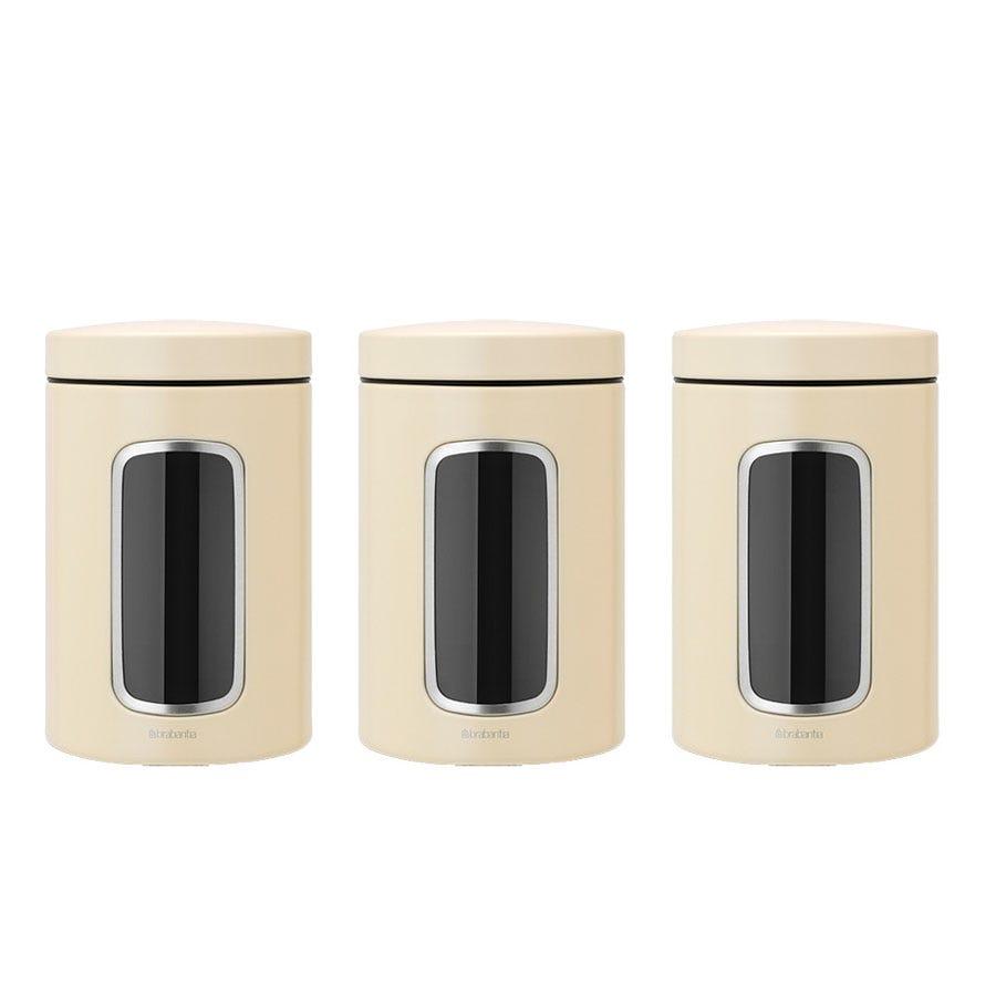 Brabantia Set of Three Window Canisters - Cream