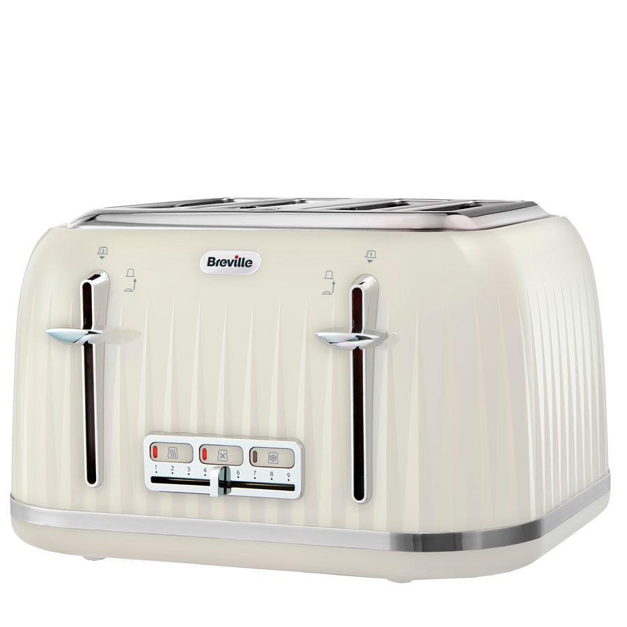 Breville VTT702 Impressions 4-Slice Wide-Slot 2000W Toaster - Cream