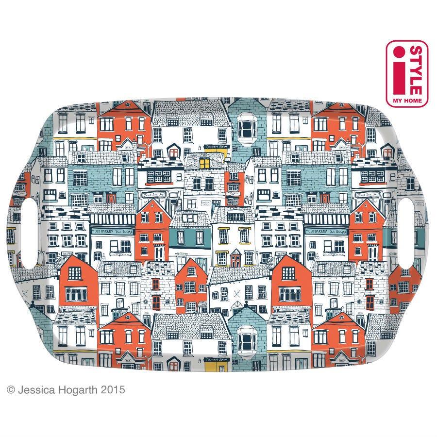 Image of Coastal Houses Tea Tray