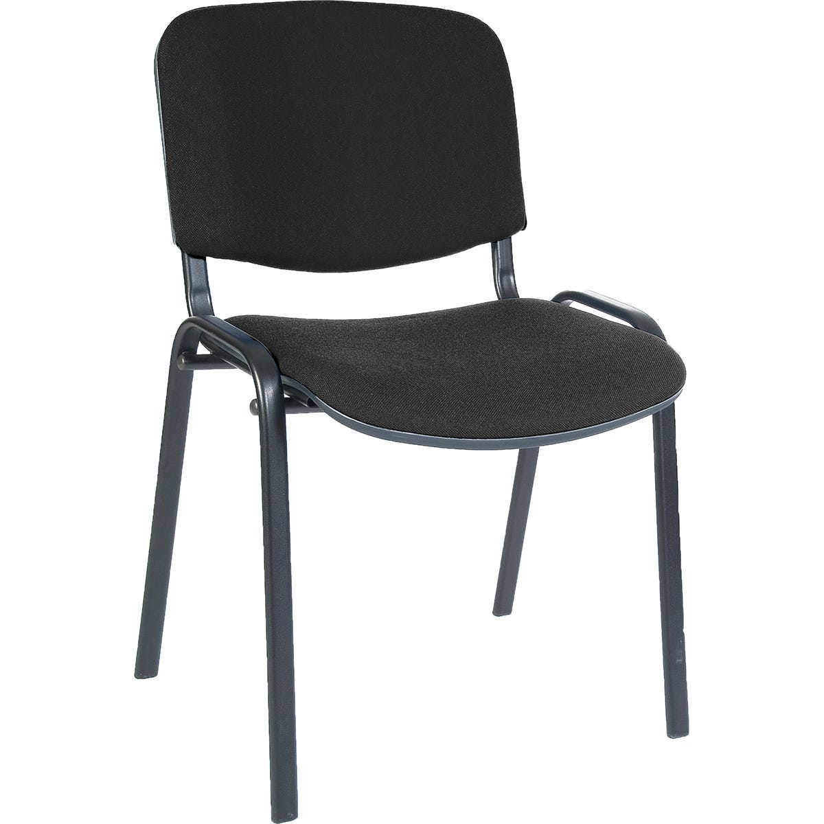 Teknik Office Stackable Conference Chair with Padded Seat and Backrest - Blue Fabric