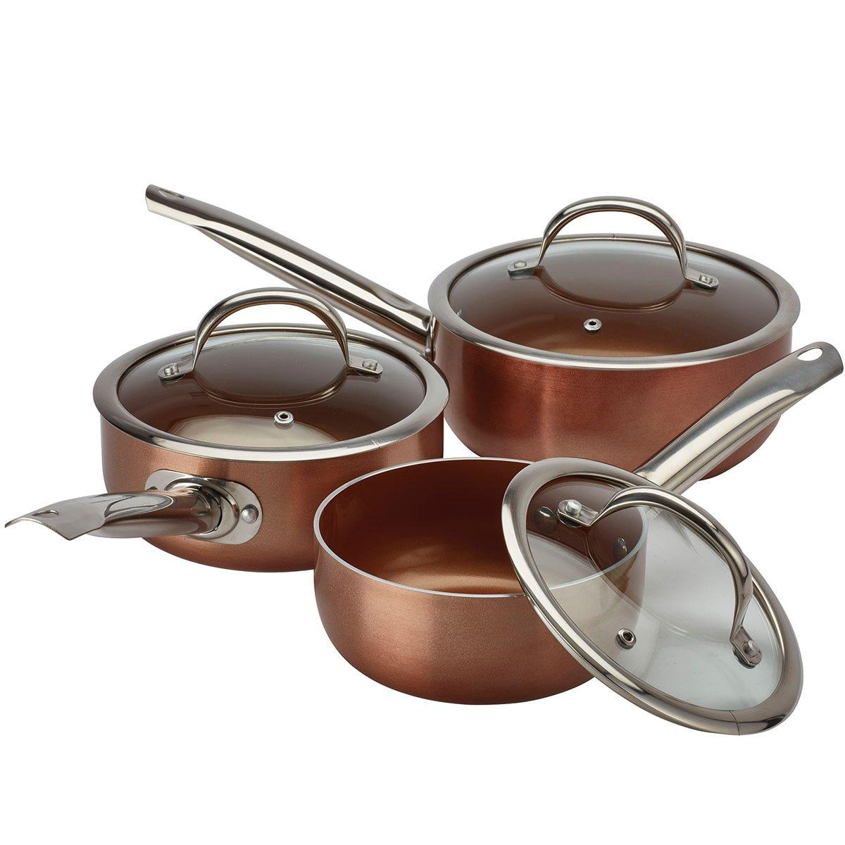 Cooks Professional 3-Piece Non-Stick Saucepan Set - Copper