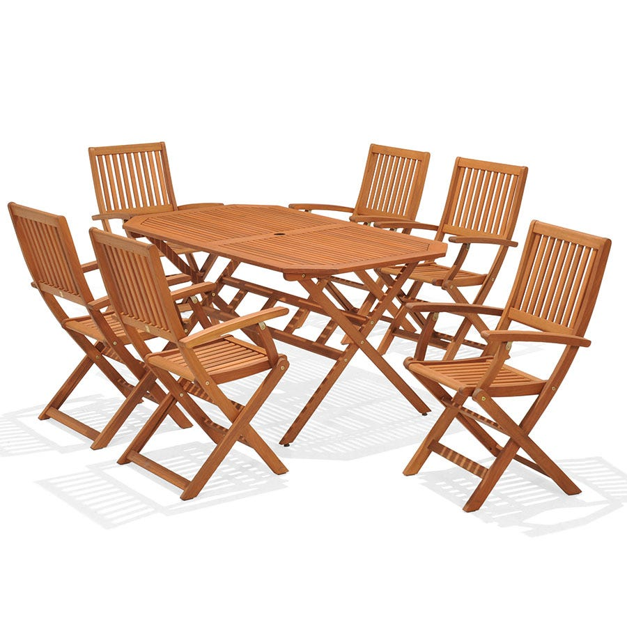 Robert Dyas Country Hardwood 6 Seater Fsc Wood Garden Furniture Set