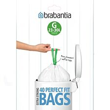 Brabantia PerfectFit 30L Size G Bin Liners - Pack of 40