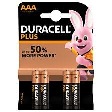 Duracell Plus Batteries AAA 4 Pack