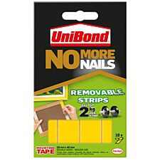 Unibond No More Nails Removable Adhesive Mounting  Strips - Pack of 10