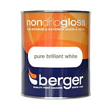 Berger Non-Drip Gloss Paint – White, 750ml