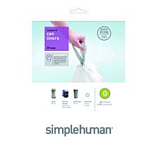 Simplehuman Custom Fit 30L Size G Bin Liners - Pack of 20