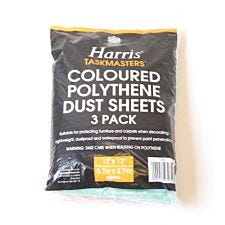 Harris Taskmasters Coloured Polythene Dust Sheets – Pack of 3