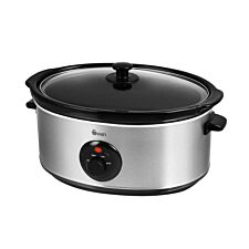 Swan SF17030N Stainless Steel 6.5L Slow Cooker - Silver
