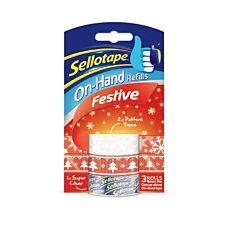 Sellotape On-Hand Festive Refills - 3 Rolls