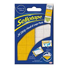 Sellotape Sticky Hook and Loop Permanent  Pads - Pack of 24