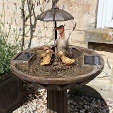 Duck Family Solar Water Fountain