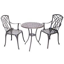 Charles Bentley Metal 2-Seater Bistro Set with Cushions - Bronze
