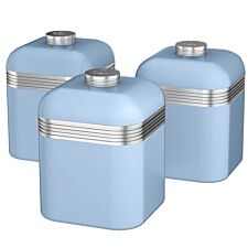 Swan Retro Set Of 3 Canisters - Blue