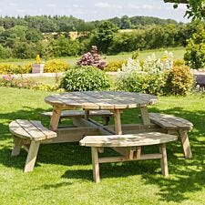 Zest4Leisure Wooden Rose 8-Seater Round Picnic Table