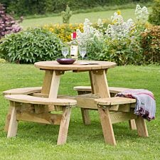 Zest4Leisure Wooden Katie 4-Seater Round Picnic Table