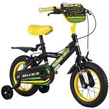 "Sonic Buzz 12"" Wheel Boys Bicycle Single Speed With Stabilisers - Black And Yellow"