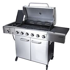 Outback Meteor 6-Burner Hybrid Gas & Charcoal BBQ with Multi-Cook Plate System - Stainless Steel