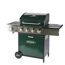 Outback Meteor 4-Burner Hybrid Gas & Charcoal BBQ - Green