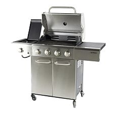 Outback Meteor 4-Burner Hybrid Gas & Charcoal BBQ with Multi-Cook Plate System - Stainless Steel