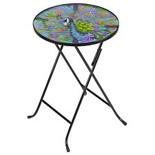 Flamboya Peacock Glass Folding Table