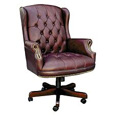 Teknik Chairman Leather Faced Swivel Chair - Burgundy